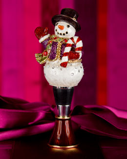 Snowman Wine Stopper with Stand