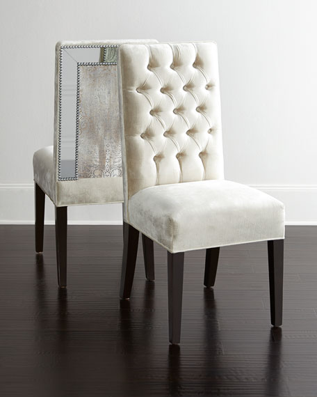 Haute House Brittney Mirrored Dining Chair & Alden Trestle Dining ...