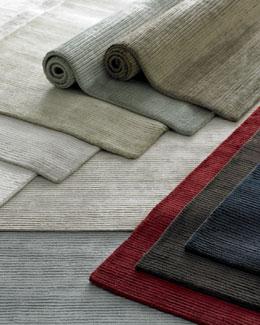 Medium Gray Textured Lines Rug, 4' x 6'