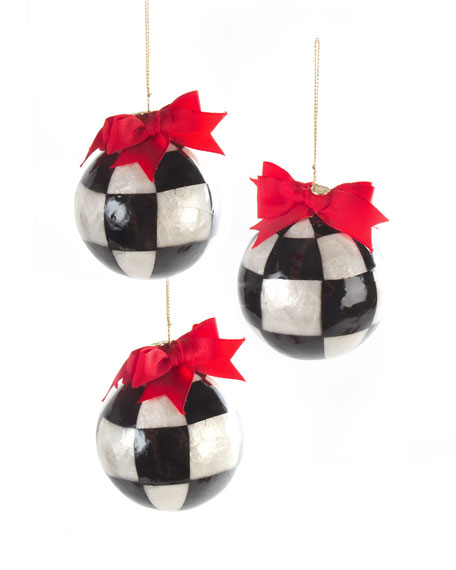 MacKenzie-Childs Three Jester Fancies Small Ball Christmas Ornaments