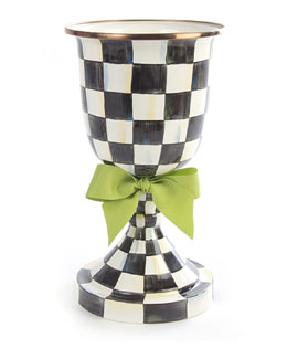 Courtly Check Pedestal Vase with Green Bow