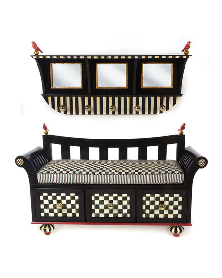 Courtly Stripe Wall-Mount Coat Rack