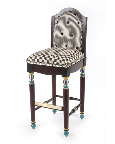 Courtly Check Underpinnings Barstool with Back