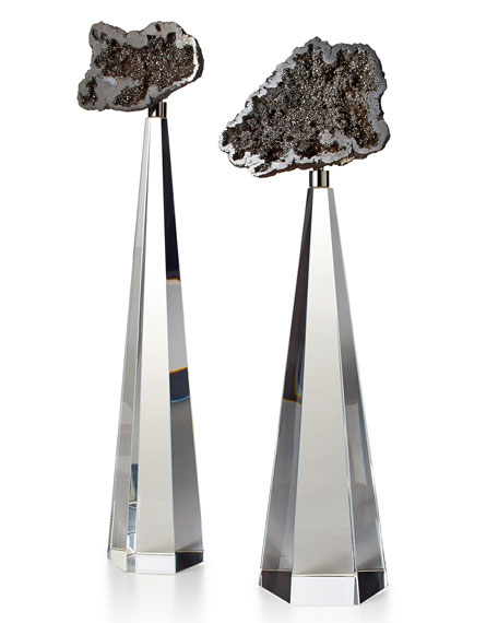 Silver Geodes on Crystal, 2-Piece Set