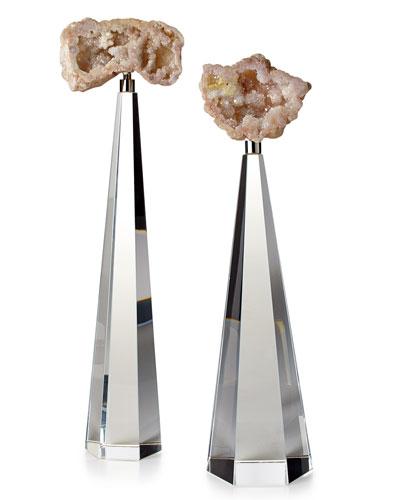 Cream Geodes on Crystal, 2-Piece Set