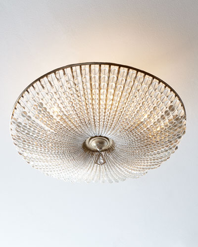 Beaded Crystal Six-Light Semi-Flush Ceiling Fixture