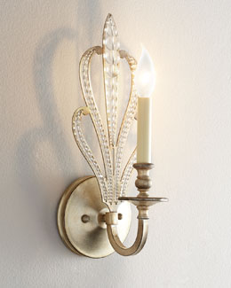 Beaded One-Light Crystal Sconce