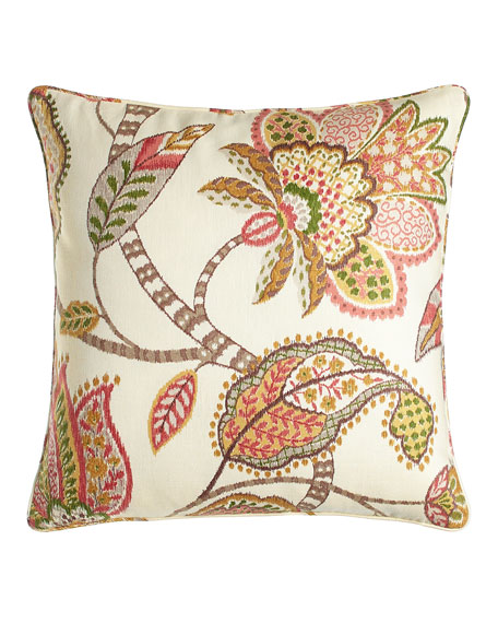 "Floral Capri Pillow, 20""Sq."