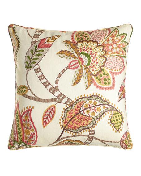 """Floral Capri Pillow, 20""""Sq."""