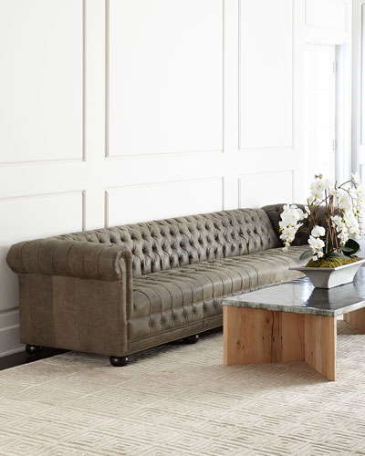 Wiley Chesterfield Leather Tufted Sofa 132
