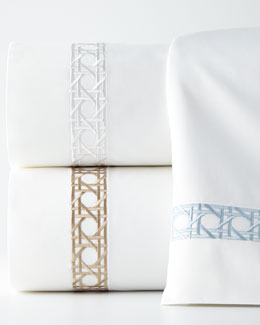 Queen 4-Piece Cane-Embroidered Sheet Set