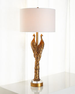 Golden Peacock Lamp