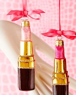 Pink Lipstick Christmas Ornament