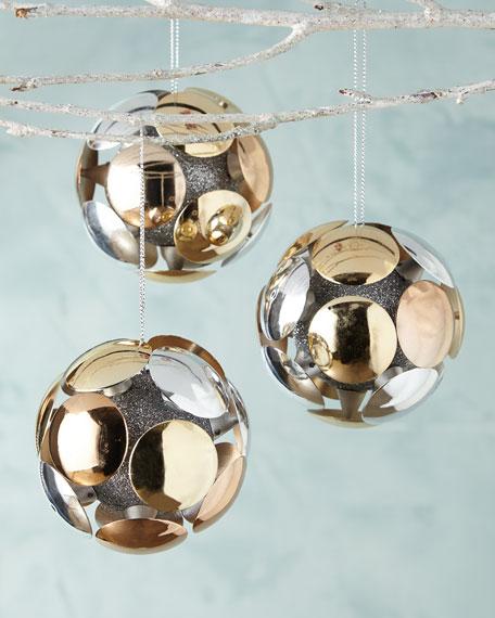 Shiny Circle Ball Christmas Ornaments, Set of 3