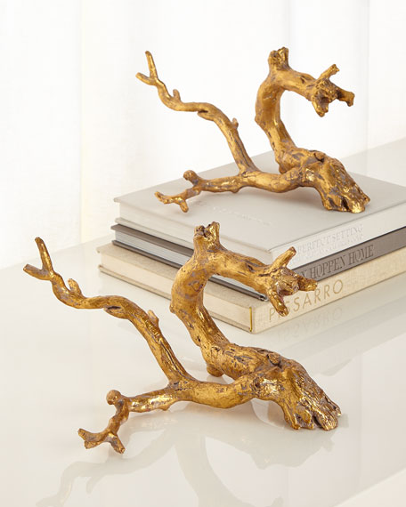 Golden Just Twigs Sculpture, Set of 2