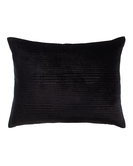 Standard Channel-Quilted Black Velvet Sham