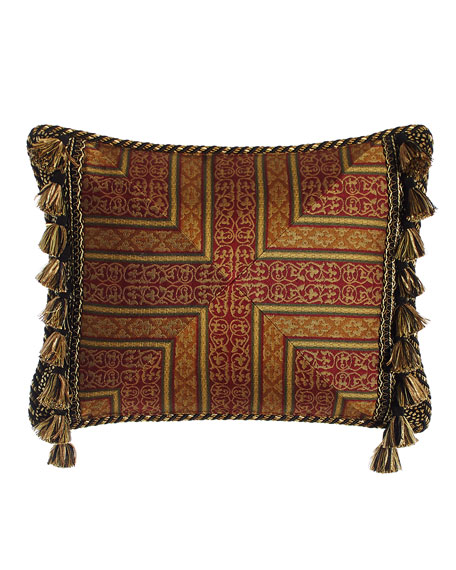 """Exotica Crimson & Gold Pillow with Side Tassels, 15"""" x 20"""""""