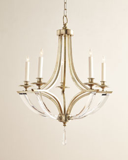 Bent Five-Light Crystal Chandelier