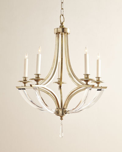 Bent 5-Light Crystal Chandelier