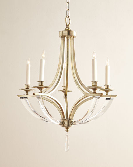 Bent 5 light crystal chandelier