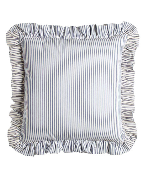European Ticking-Stripe Sham with Ruffle