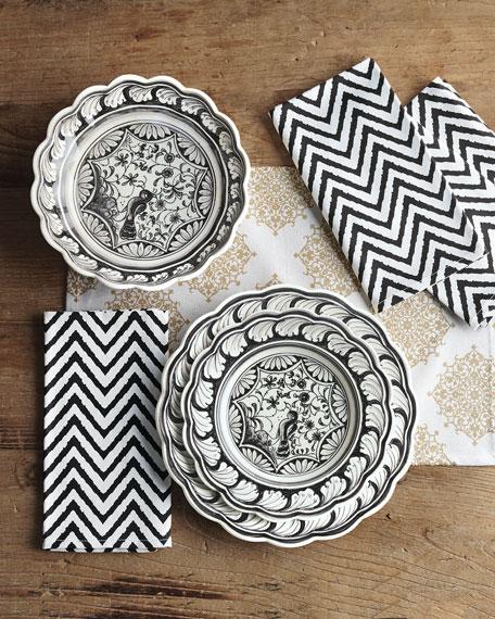 12-Piece Black & White Dinnerware Service