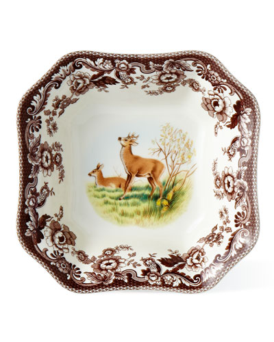 Deer Square Serving Bowl