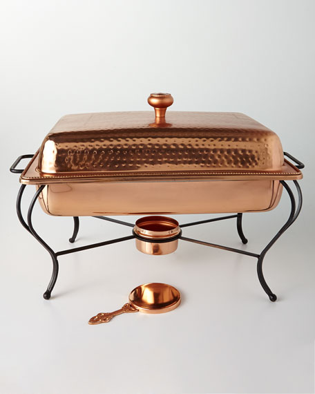 6-Quart Rectangular Copper-Plated Chafing Dish