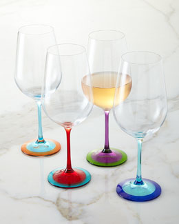 Color-Base Wine Glasses, 4-Piece Set