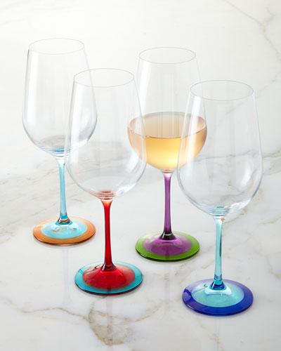 Color-Base Wine Glasses, 4-Piece Set