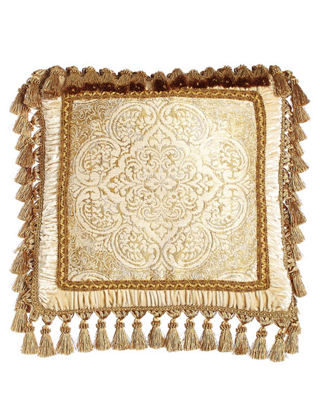 "Framed Medallion Pillow with Tassel Trim, 20""Sq."