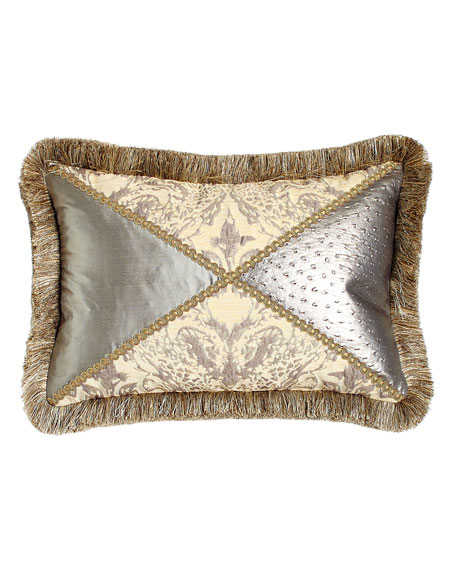 "Everest Pieced Pillow with Fringe, 14"" x 20"""