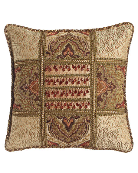 Mediterrane Patch Pillow with Beaded Silk Center, 18