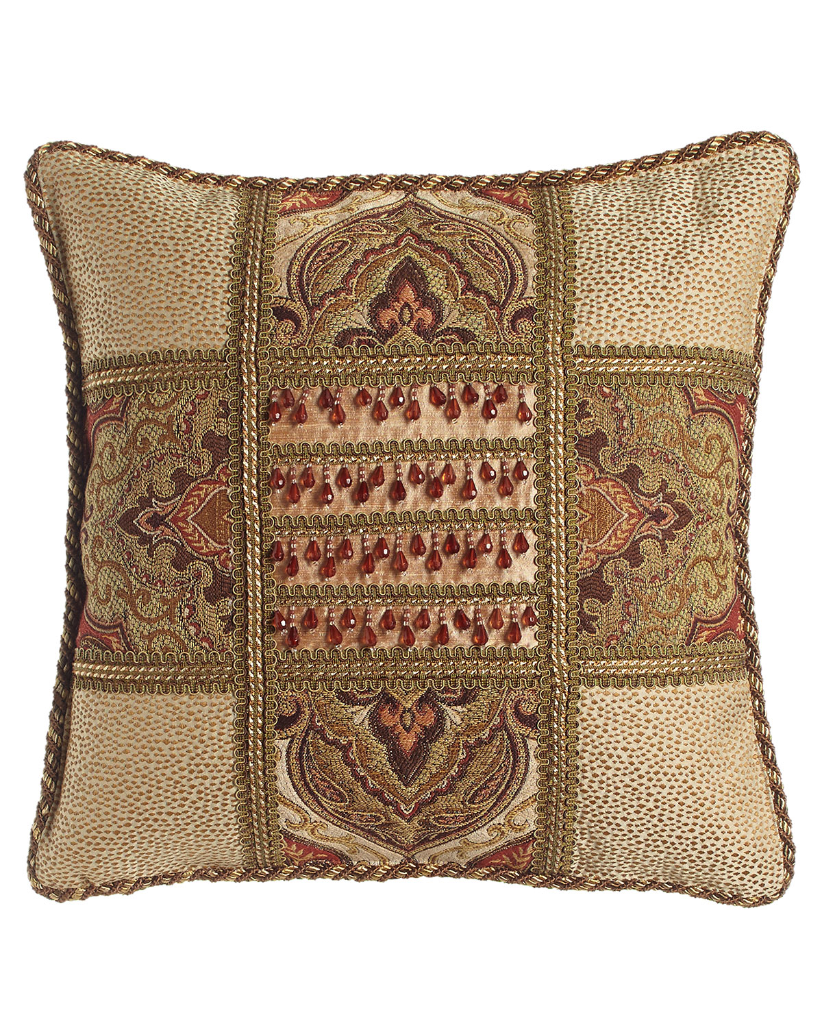 Dian Austin Couture Home Mediterrane Patch Pillow With Beaded Silk Center 18 Quot Sq