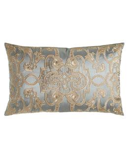 Mozart Blue Silk Pillow, 18