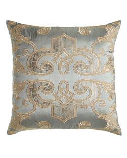 Mozart Blue Silk Pillow, 24