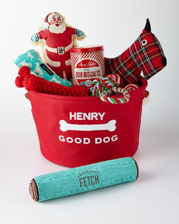 Personalized Holiday Dog Toy Bin