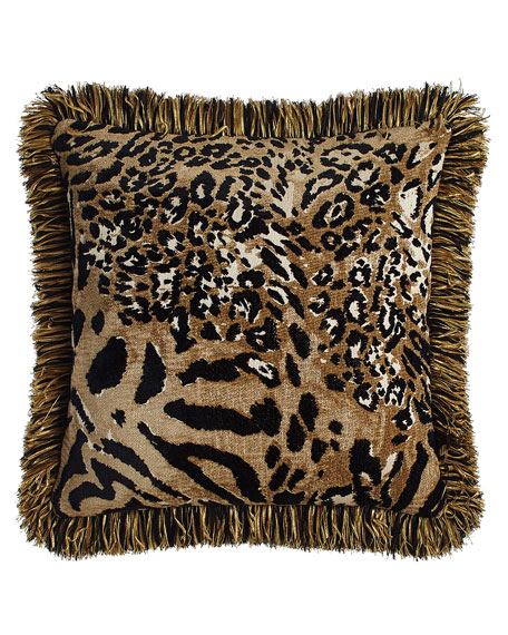 "Reversible Madagascar Pillow with Fringe, 18""Sq."