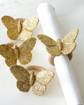 Glitter butterfly napkin rings
