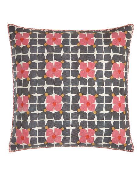 "Harbar Floral Grid Block Print Pillow, 26""Sq."