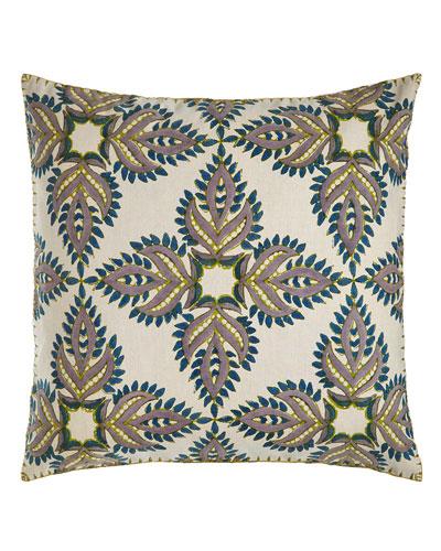 Verdin Blue/Green Block Print Pillow, 26