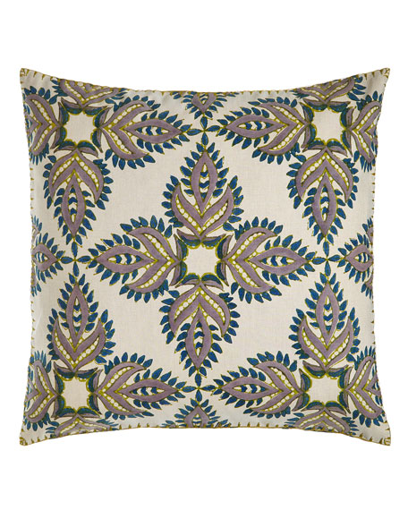 "Verdin Blue/Green Block Print Pillow, 26""Sq."
