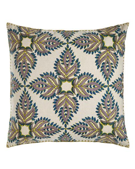 "Verdin Blue/Green Block Print Pillow, 26""Sq."