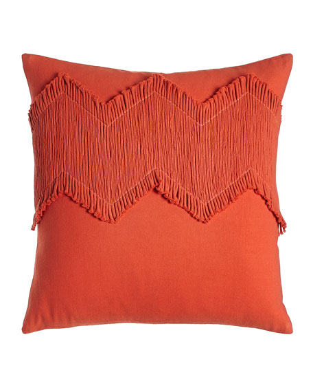 "Orange Puebla Pillow, 18""Sq."