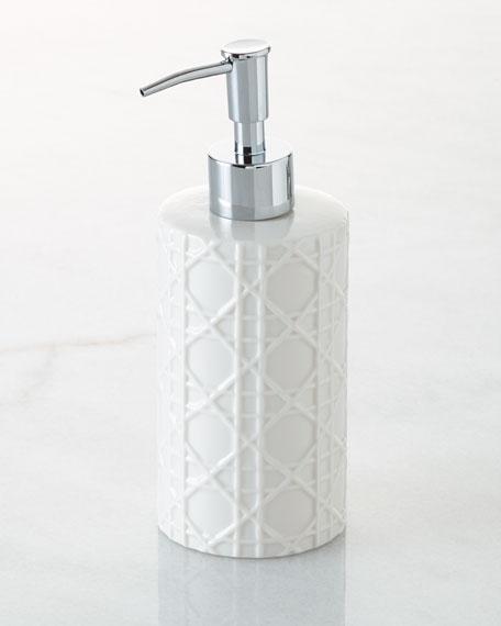 Kassatex Cane Embossed Porcelain Pump Dispenser