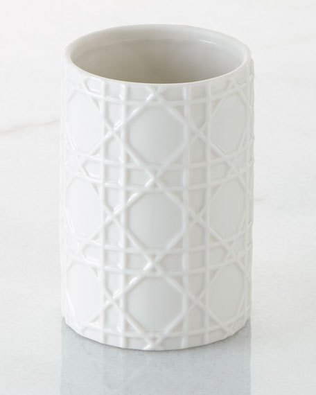Cane Embossed Porcelain Tumbler