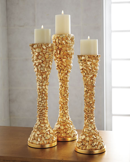 """""""Gold Nugget"""" Candleholders, 3-Piece Set"""
