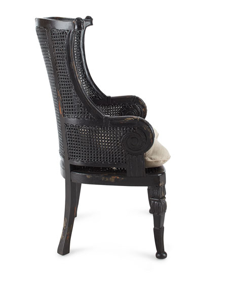 Cypris Noir Cane Chairs, Pair