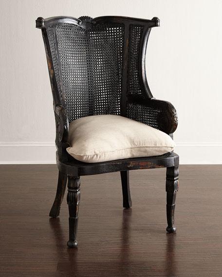 Cypris Noir Cane Chairs, Pair