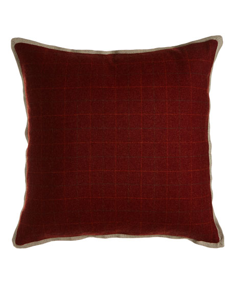 "New Castle Merlot Plaid Pillow, 20""Sq."
